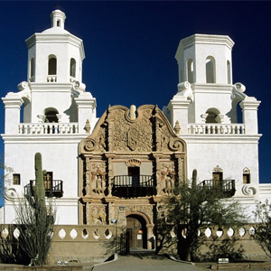 outside entrance of mission san xavier